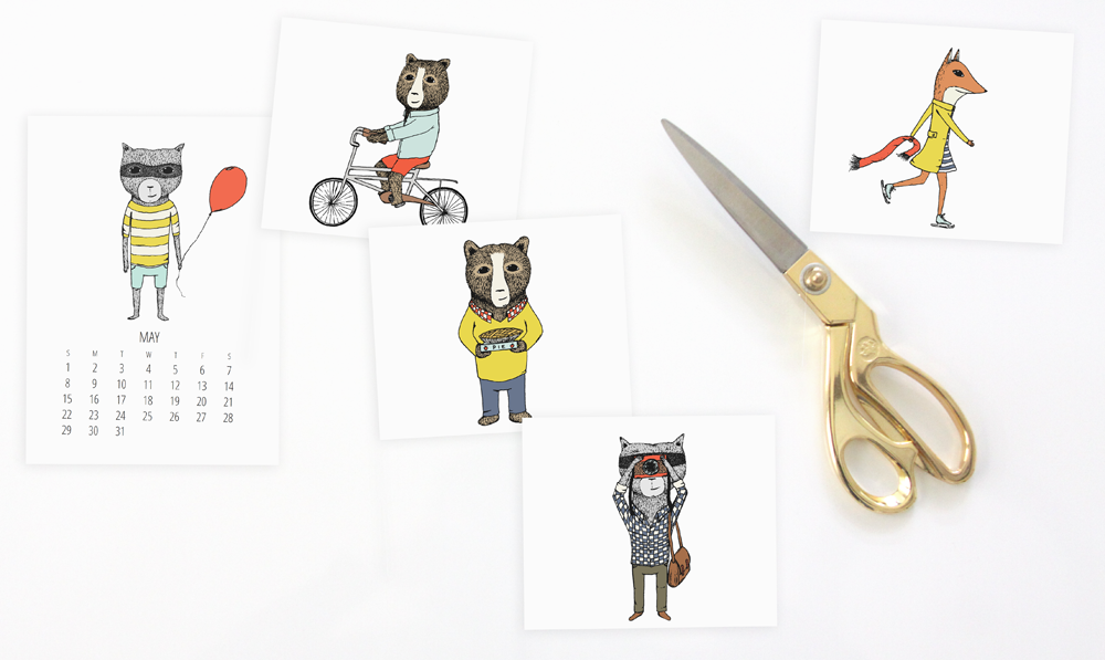 DIY Project - Cut off illustrations of Jaunty Animals calendar to frame