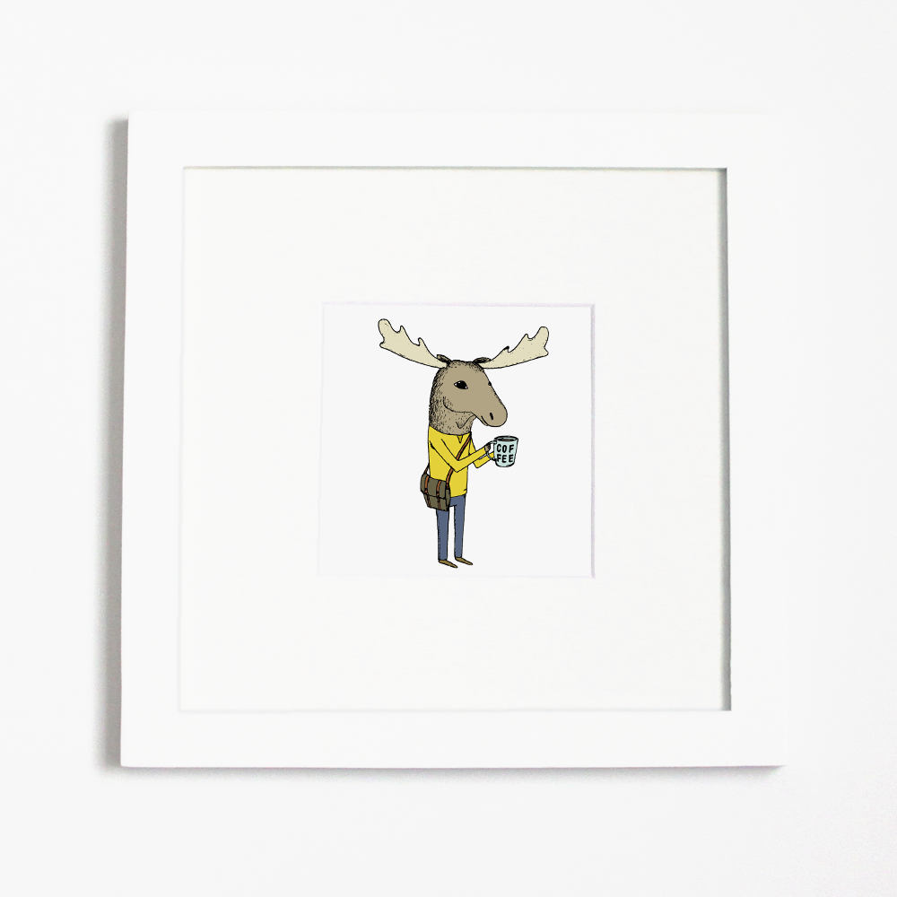 Framed Coffee Moose illustration from Hello Small World